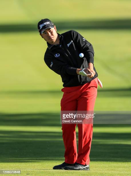 Hideki Matsuyama of Japan plays his third shot on the par 4 13th hole during the first round of the Genesis Invitational at the Riviera Country Club...