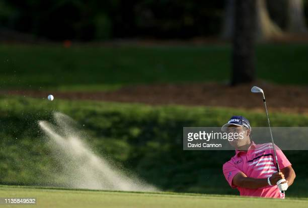 Hideki Matsuyama of Japan plays his third shot on the par 5 ninth hole during the first round of the 2019 Players Championship held on the Stadium...