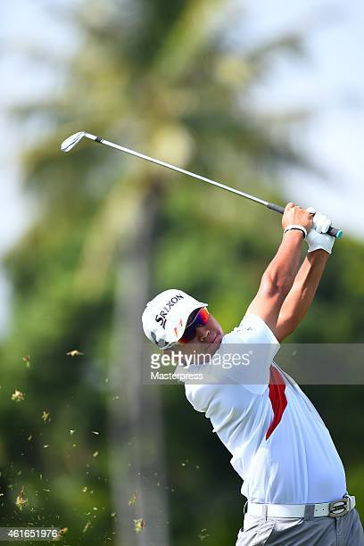 Hideki Matsuyama of Japan plays the second shot on the ninth hole during the first round of the Sony Open In Hawaii at Waialae Country Club on...