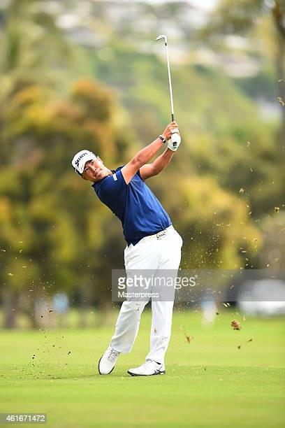 Hideki Matsuyama of Japan plays the second shot on the third hole during the second round of the Sony Open In Hawaii at Waialae Country Club on...