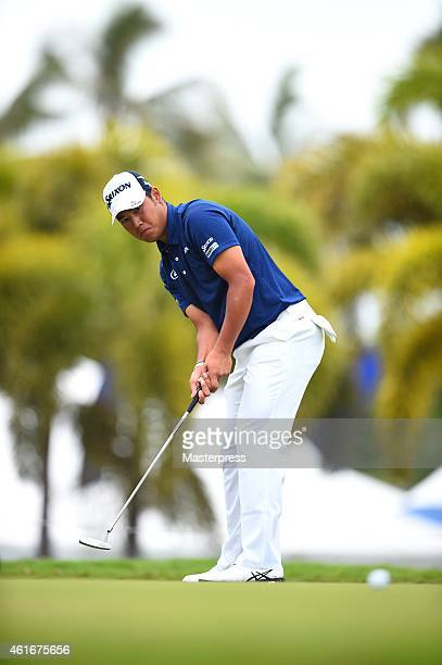 Hideki Matsuyama of Japan plays the third shot on the 10th hole during the second round of the Sony Open In Hawaii at Waialae Country Club on January...