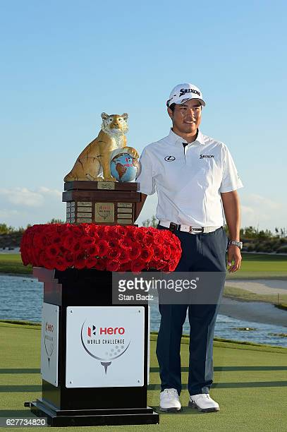 Hideki Matsuyama of Japan poses with his trophy after winning the Hero World Challenge at Albany course on December 4 2016 in Nassau Bahamas