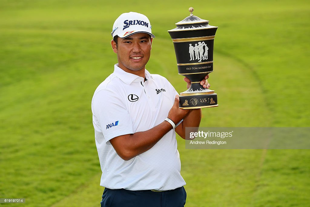 Hideki Matsuyama of Japan poses with the trophy following his victory during day four of the WGC - HSBC Champions at Sheshan International Golf Club on October 30, 2016 in Shanghai, China.