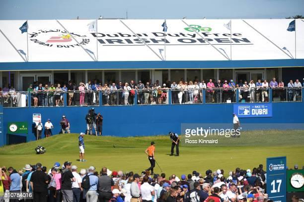 Hideki Matsuyama of Japan putts on the 18th green during day three of the Dubai Duty Free Irish Open at Portstewart Golf Club on July 8 2017 in...