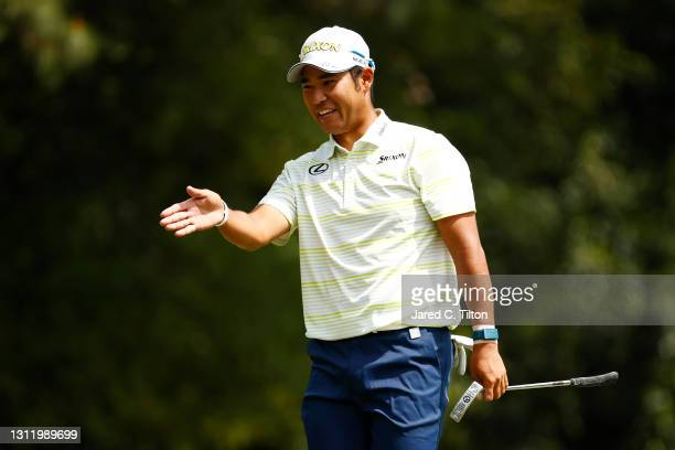 Hideki Matsuyama of Japan reacts after his bogey putt on the first green during the final round of the Masters at Augusta National Golf Club on April...
