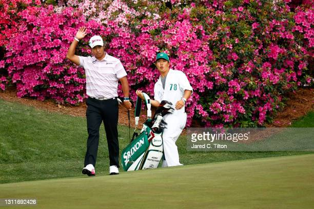 Hideki Matsuyama of Japan reacts after his putt on the 13th green during the second round of the Masters at Augusta National Golf Club on April 09,...