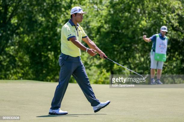 Hideki Matsuyama of Japan reacts after making birdie on during the second round of the 50th anniversary AT&T Byron Nelson on May 18, 2018 at Trinity...