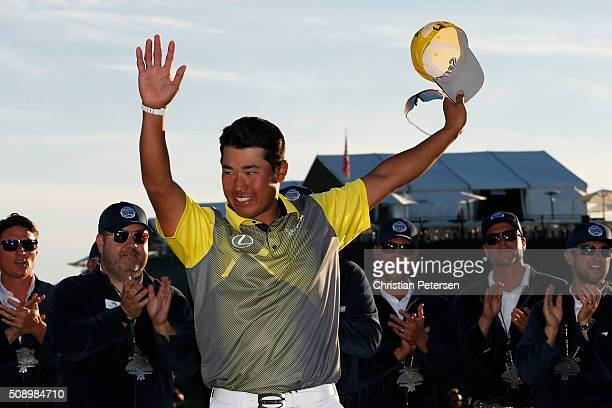 Hideki Matsuyama of Japan reacts after winning the Waste Management Phoenix Open in the final round at TPC Scottsdale on February 7 2016 in...