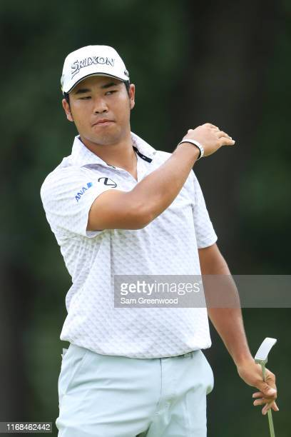 Hideki Matsuyama of Japan reacts during the second round of the BMW Championship at Medinah Country Club No 3 on August 16 2019 in Medinah Illinois