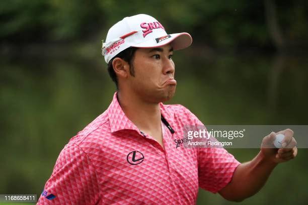 Hideki Matsuyama of Japan reacts on the 13th green during the third round of the BMW Championship at Medinah Country Club No 3 on August 17 2019 in...