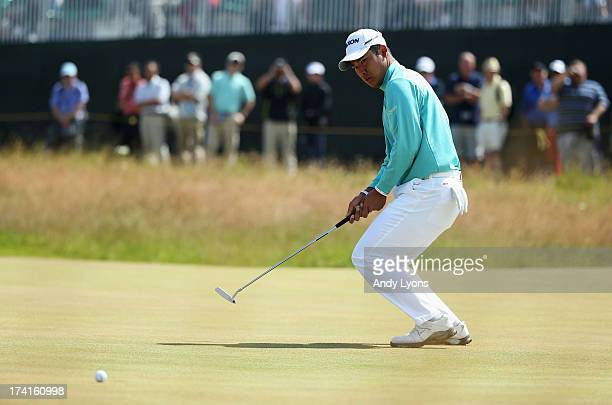 Hideki Matsuyama of Japan reacts on the 1st green during the final round of the 142nd Open Championship at Muirfield on July 21, 2013 in Gullane,...
