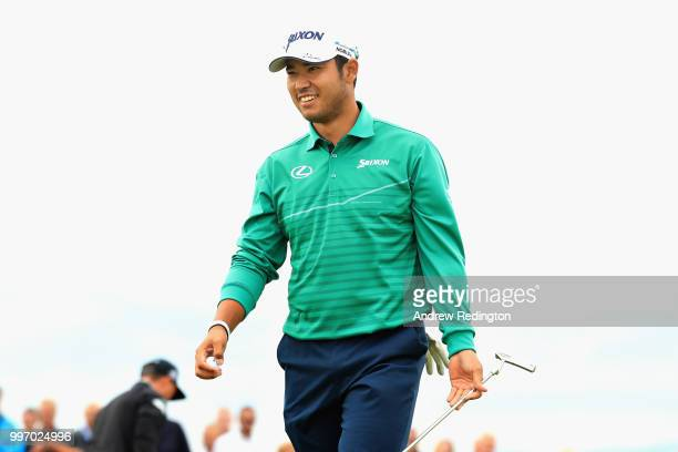 Hideki Matsuyama of Japan reacts to his putt on hole sixteen during day one of the Aberdeen Standard Investments Scottish Open at Gullane Golf Course...