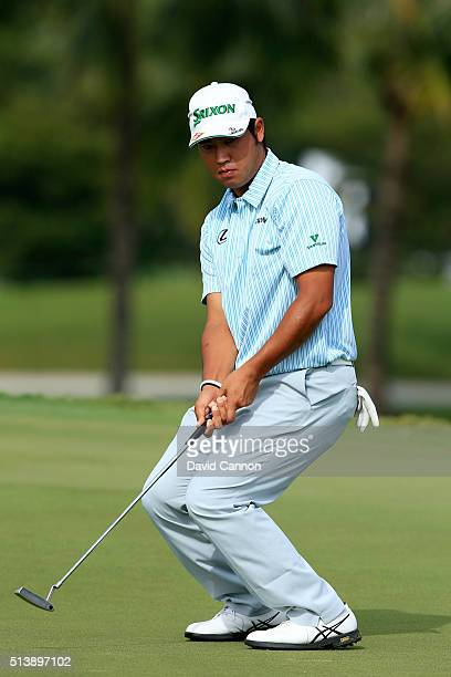 Hideki Matsuyama of Japan reacts to his putt on the fifth hole during the third round of the World Golf ChampionshipsCadillac Championship at Trump...