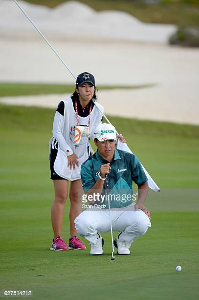 Hideki Matsuyama of Japan studies his putt on the 16th hole during the third round of the Hero World Challenge at Albany course on December 3 2016 in...