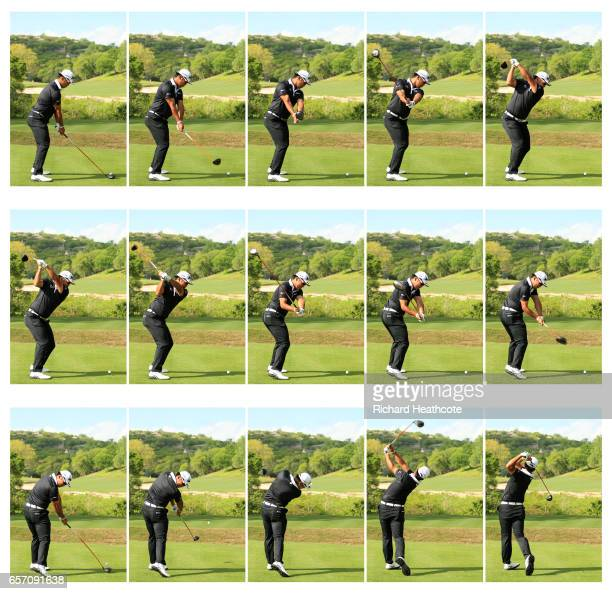 Hideki Matsuyama of Japan swing sequence during round two of the World Golf ChampionshipsDell Technologies Match Play at the Austin Country Club on...