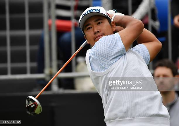 Hideki Matsuyama of Japan tees off at the first hole at a Japan Skins prematch ahead of the ZOZO Championship golf tournament at the Narashino...