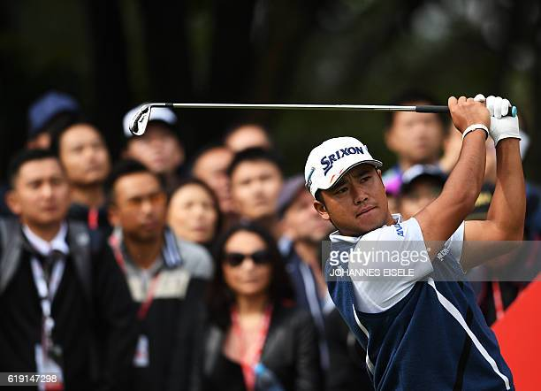 Hideki Matsuyama of Japan tees off during the final round of the World Golf ChampionshipsHSBC Champions golf tournament in Shanghai / AFP / Johannes...