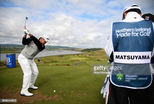 Hideki Matsuyama of Japan tees off on the 12th during the ProAm of the Dubai Duty Free Irish Open at Portstewart Golf Club on July 5 2017 in...