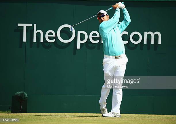 Hideki Matsuyama of Japan tees off on the 1st hole during the final round of the 142nd Open Championship at Muirfield on July 21, 2013 in Gullane,...