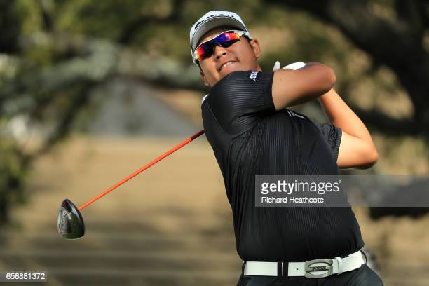 Hideki Matsuyama of Japan tees off on the 1st hole of his match during round two of the World Golf ChampionshipsDell Technologies Match Play at the...