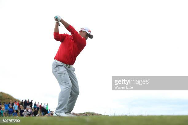 Hideki Matsuyama of Japan tees off on the 8th hole during day one of the Dubai Duty Free Irish Open at Portstewart Golf Club on July 6 2017 in...