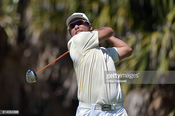 Hideki Matsuyama of Japan tees off on the eighth hole during the final round of the World Golf ChampionshipsCadillac Championship at Trump National...