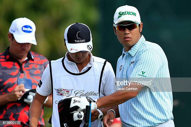 Hideki Matsuyama of Japan tees off on the sixth hole during the third round of the World Golf ChampionshipsCadillac Championship at Trump National...