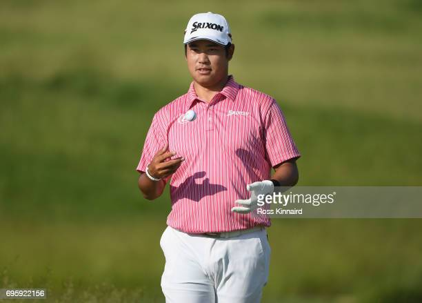 Hideki Matsuyama of Japan walks along the course during a practice round prior to the 2017 US Open at Erin Hills on June 14 2017 in Hartford Wisconsin