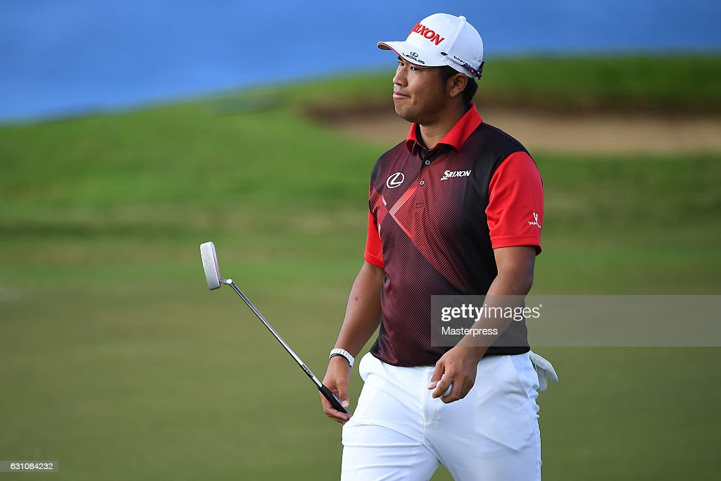 Hideki Matsuyama of Japan walks on the 11th green during the first round of the SBS Tournament of Champions at the Plantation Course at Kapalua Golf Club on January 5, 2017 in Lahaina, Hawaii.