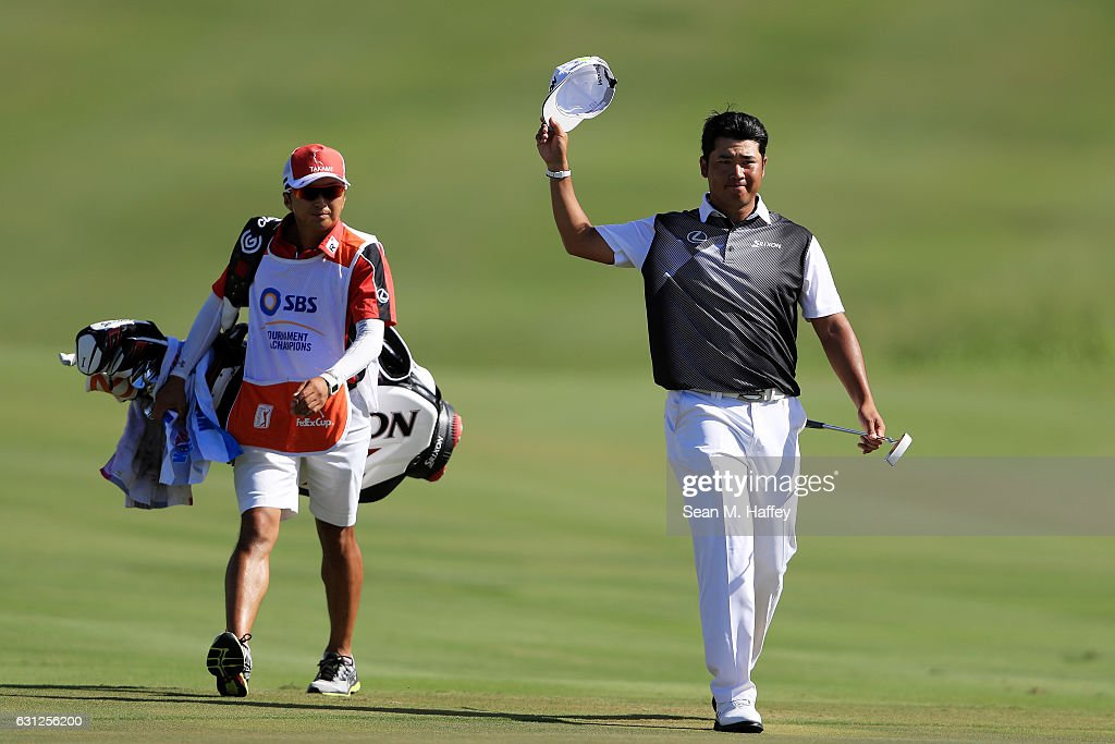Hideki Matsuyama of Japan walks to the 18th green during the final round of the SBS Tournament of Champions at the Plantation Course at Kapalua Golf Club on January 8, 2017 in Lahaina, Hawaii.