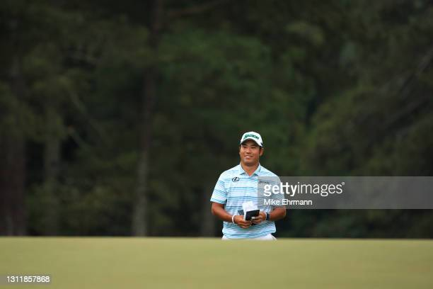 Hideki Matsuyama of Japan walks to the 18th green during the third round of the Masters at Augusta National Golf Club on April 10, 2021 in Augusta,...
