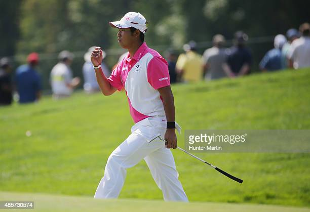 Hideki Matsuyama of Japan walks to the first green during the third round of The Barclays at Plainfield Country Club on August 29 2015 in Edison New...