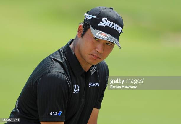 Hideki Matsuyama of Japan warms up on the range during the third round of the 2017 US Open at Erin Hills on June 17 2017 in Hartford Wisconsin