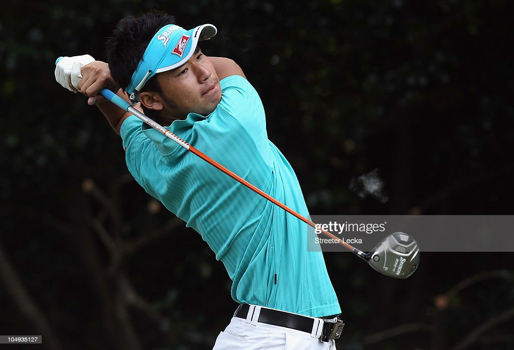 Hideki Matsuyama of Japan watches his tee shot on the 6th hole during the  first round