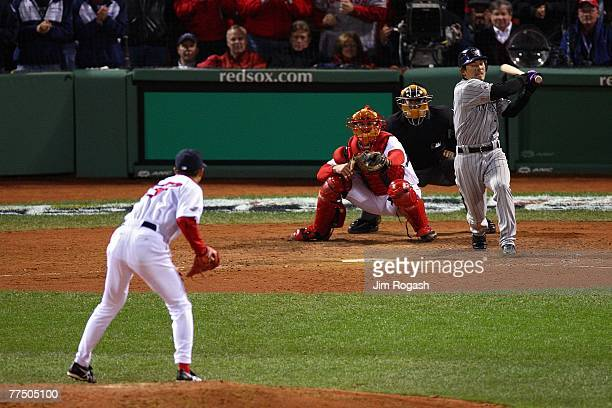 Hideki Okajima of the Boston Red Sox pitches against Kazuo Matsui of the Colorado Rockies during Game Two of the 2007 Major League Baseball World...