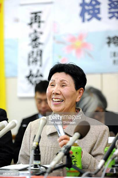 Hideko Hakamada, the elder sister of death row inmate Iwao Hakamada speaks during a press conference after the Shizuoka District Court accepted a...