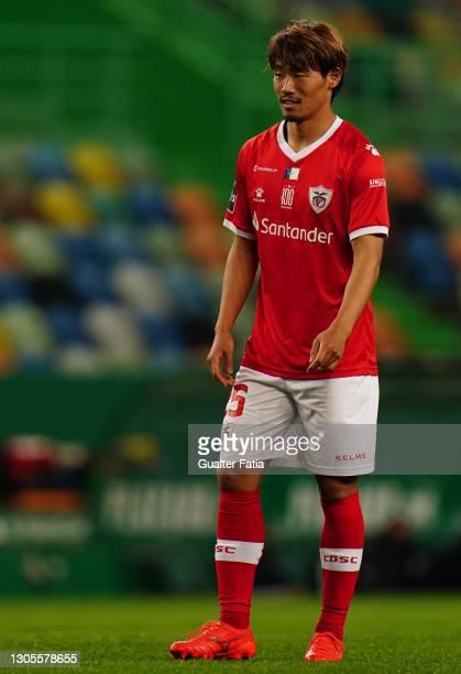 Hidemasa Morita of CD Santa Clara during the Liga NOS match between Sporting CP and CD Santa Clara at Estadio Jose Alvalade on March 5, 2021 in...