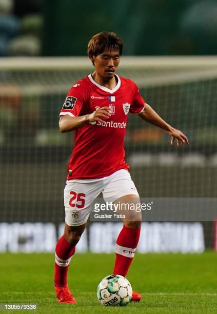 Hidemasa Morita of CD Santa Clara in action during the Liga NOS match between Sporting CP and CD Santa Clara at Estadio Jose Alvalade on March 5,...