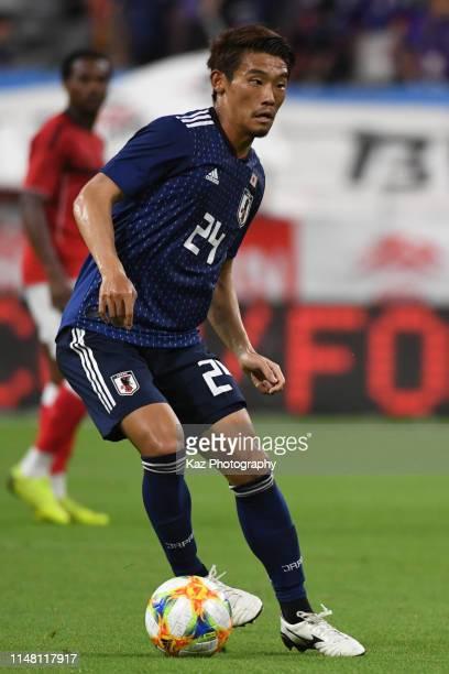 Hidemasa Morita of Japan dribbles the ball during the international friendly match between Japan and Trinidad and Tobago at Toyota Stadium on June 5,...