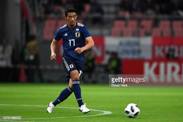 Hidemasa Morita of Japan in action during the international friendly match between Japan and Kyrgyz at Toyota Stadium on November 20, 2018 in Toyota,...