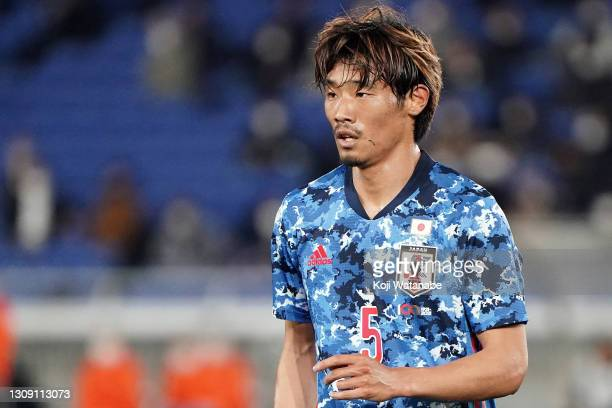 Hidemasa Morita of Japan looks on during the international friendly match between Japan and South Korea at the Nissan Stadium on March 25, 2021 in...