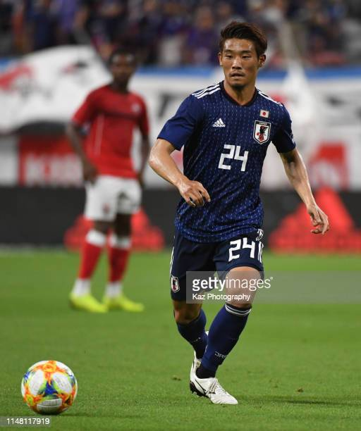 Hidemasa Morita of Japan passes the ball during the international friendly match between Japan and Trinidad and Tobago at Toyota Stadium on June 5,...