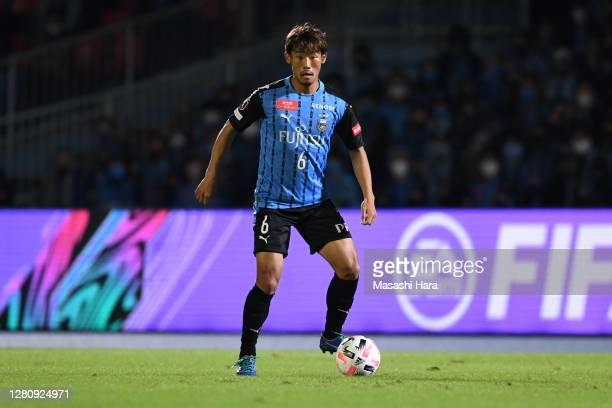 Hidemasa Morita of Kawasaki Fronale in action during the J.League Meiji Yasuda J1 match between Kawasaki Frontale and Nagoya Grampus at the Todoroki...
