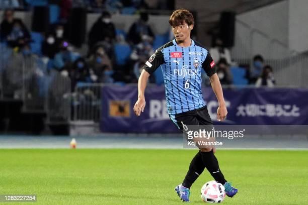 Hidemasa Morita of Kawasaki Fronale in action during the J.League Meiji Yasuda J1 match between Kawasaki Frontale and FC Tokyo at the Todoroki...