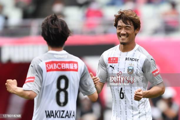 Hidemasa Morita of Kawasaki Frontale celebrates the first goal during the J.League Meiji Yasuda J1 match between Cerezo Osaka and Kawasaki Frontale...