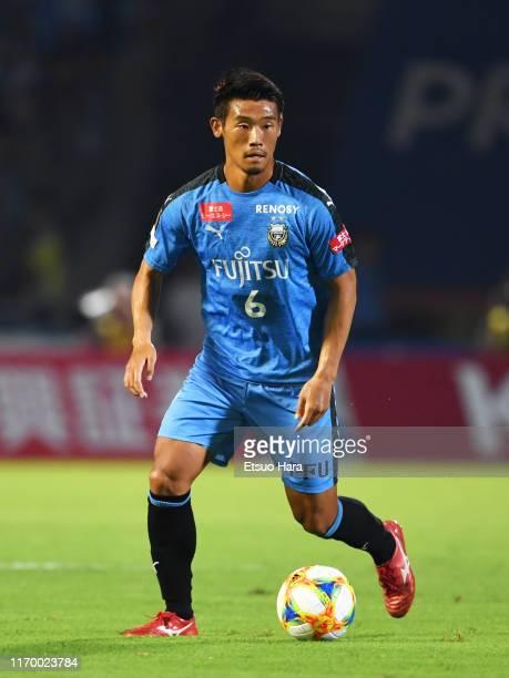 Hidemasa Morita of Kawasaki Frontale in action during the J.League J1 match between Kawasaki Frontale and Shimizu S-Pulse at Todoroki Stadium on...