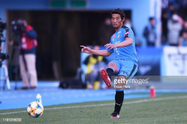 Hidemasa Morita of Kawasaki Frontale in action during the J.League J1 match between Kawasaki Frontale and Yokohama F.Marinos at Todoroki Stadium on...