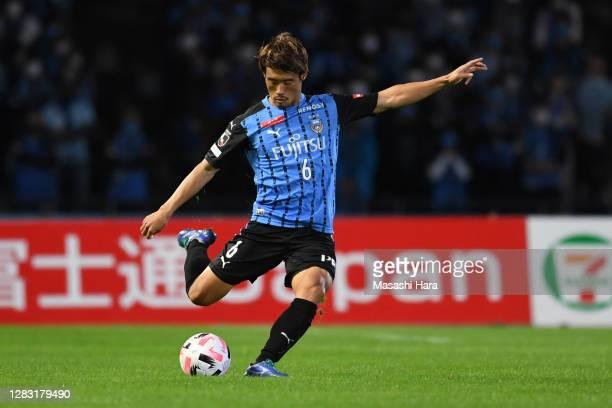 Hidemasa Morita of Kawasaki Frontale in action during the J.League Meiji Yasuda J1 match between Kawasaki Frontale and FC Tokyo at the Todoroki...
