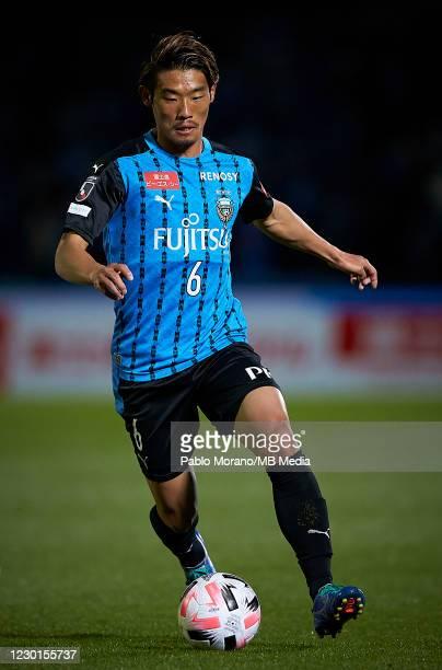 Hidemasa Morita of Kawasaki in action during the J.League Meiji Yasuda J1 match between Kawasaki Frontale and Urawa Red Diamonds at the Todoroki...