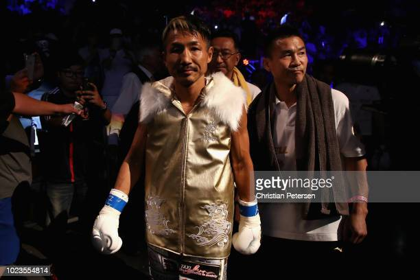 Hidenori Otake of Japan walks up to the ring to fight Isaac Dogboe during the WBO junior featherweight championship bout at Gila River Arena on...